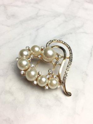 Brosche gold Perlen Schmuck elegant