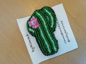 Brosche Handmade Kaktus Brooch Cactus Statement