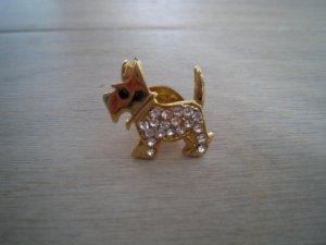 """Brosche Hund gold mit """"Straßsteinchen"""""""