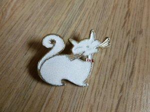 Brosche Katze weiß silber