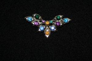 Brosche / Modeschmuck / silverfarbig m. bunten Steinen