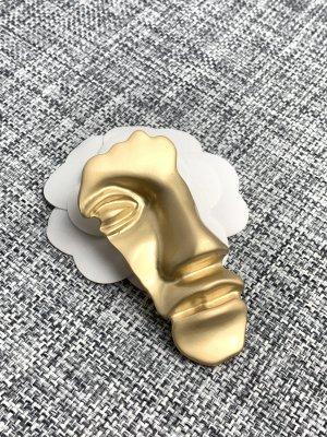 Brosche neu Gesicht gold Anstecker Pin Schmuck Statement