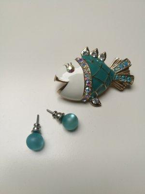 Brosche + Ohrringe Blautöne- Schmuck * neu*