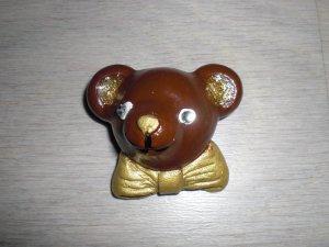 Brosche Teddybär braun/gold