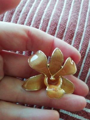 Brosche Vintage Handmade Blüte Flower Gold Brooch