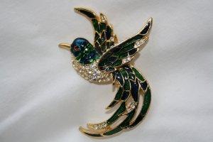 Brosche Vogel vergoldet mit Steinen und Email / Modeschmuck / NEU !