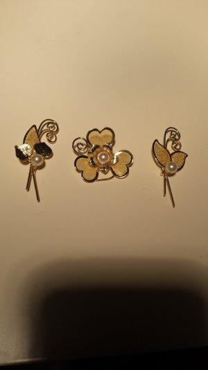 Broschen Anstecker gold perlen neu