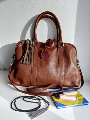 Brown Leather handbag, top handle & cross body