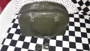 Bolso de bolos verde oscuro-caqui Cuero
