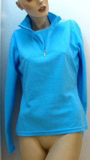 Pullover in pile turchese-azzurro Poliestere