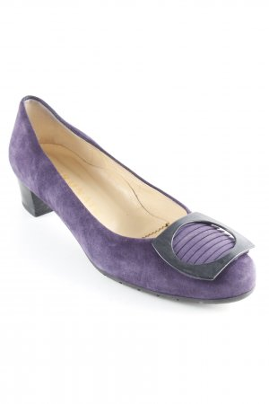 Brunate Plateau-Pumps dunkelviolett-schwarz Business-Look