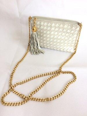 BRUNATE Umhängetasche Clutch Tasche weiß silber gold