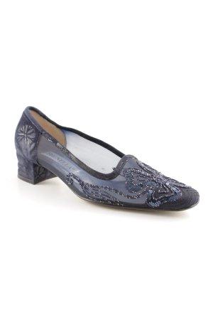Brunella Spitz-Pumps dunkelblau Blumenmuster Elegant