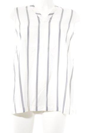 Brunello Cucinelli ärmellose Bluse wollweiß-graublau Streifenmuster Elegant