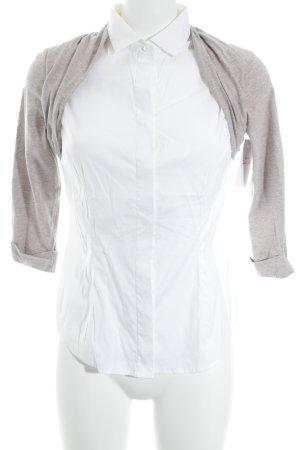 Brunello Cucinelli Langarm-Bluse weiß-hellbraun meliert Business-Look