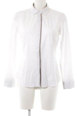 Brunello Cucinelli Langarmhemd weiß-graubraun Elegant