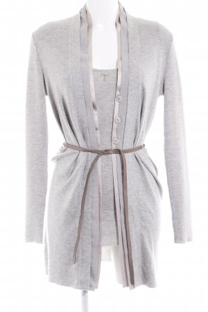 Brunello Cucinelli Knitted Twin Set light grey-nude flecked elegant