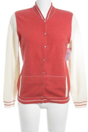 Brunello Cucinelli Strickjacke rot-wollweiß Streifenmuster schlichter Stil