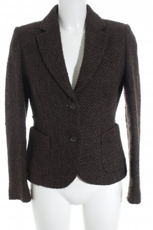 Brunetti Wool Blazer dark brown weave pattern business style