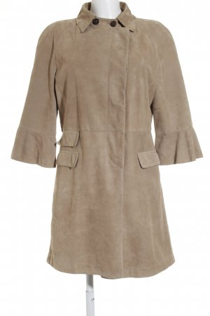 Bruno Cucinelli Ledermantel beige Casual-Look
