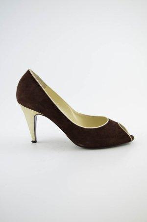 BRUNO MAGLI Damen High Heels Peep Toes Verloursleder Braun Gold Gr.40