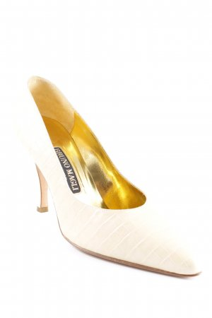 Bruno Magli Spitz-Pumps blassgelb Animalmuster Party-Look