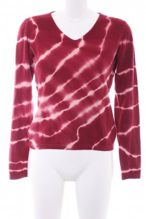 Bruno Manetti Cashmerepullover karminrot-wollweiß Batikmuster Casual-Look