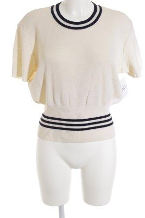 Bruno Manetti T-Shirt creme-dunkelblau Streifenmuster Casual-Look