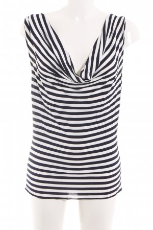 Bruno Manetti Cowl-Neck Top white-black striped pattern casual look