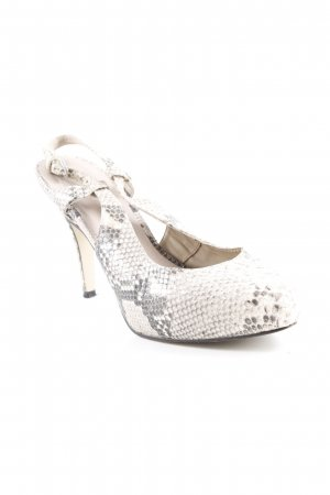 Bruno Premi Strapped High-Heeled Sandals cream-grey brown animal pattern