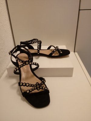 Bruno Premi Strapped High-Heeled Sandals black-gold-colored leather