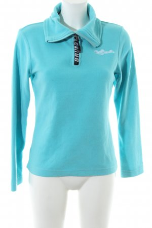 Brunotti Fleece Jumper turquoise embroidered lettering casual look