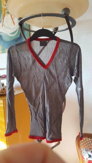 Bruuns Bazaar L-Shirt Samt grau/rot Gr.36
