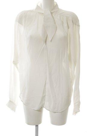 Bruuns bazaar Blusa collo a cravatta bianco stile professionale