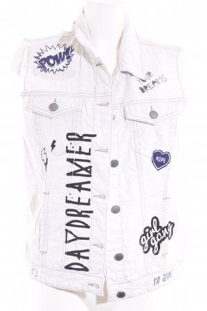 BSB Jeans Denim Vest natural white-light blue comic pattern distressed style