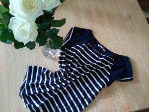Bershka Camisa de rayas azul oscuro-blanco tejido mezclado