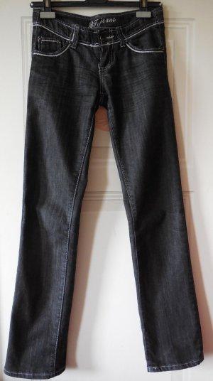 BT Jeans Hüftjeans schwarz mit silber Biesen abgesetzt Gr. 36