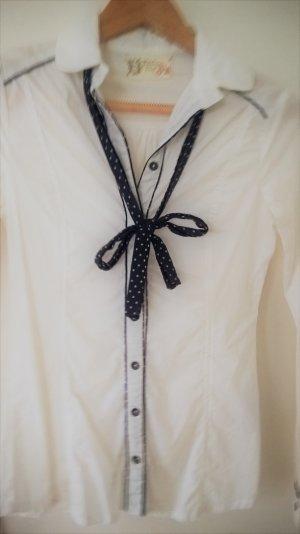 Bubikragen-Bluse weiß mit Schleife am Kragen