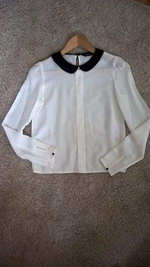 Bubikragen-Bluse weiß mit schwarzen Kragen