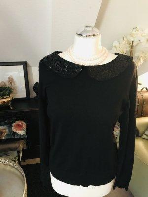 Bubikragen Pailletten schwarz Pullover Größe 38