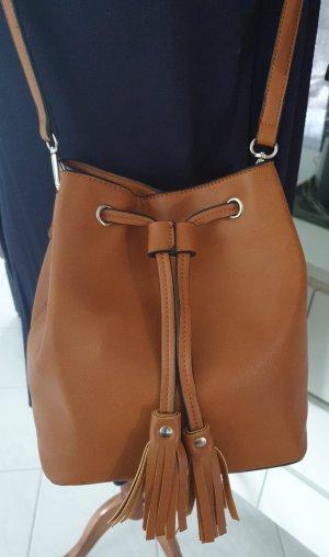 ♡ Bucket Bag Beuteltasche cognac mit Quaste ♡