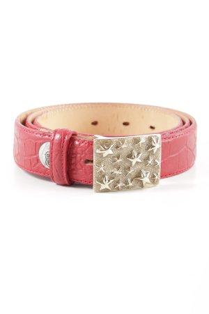 Buckles & Belts Ledergürtel rot-pink Animalmuster Casual-Look
