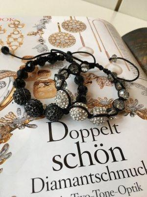 Buckleys 2 Armbänder mit Swarovski Kristallen Schwarz/Weis