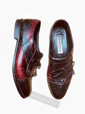 Budapester Oxford Leder echtleder rot schwarz Quasten elegant edel italy | Vintage | 37