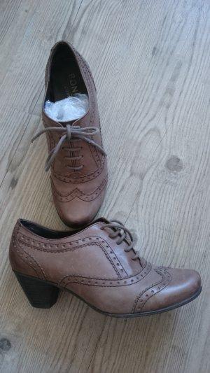Bonita Zapatos estilo Oxford marrón claro Cuero