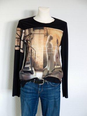 bügelfreies Zara Shirt mit schönem Print Gr. S schwarz braun