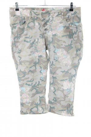 Buena Vista 3/4 Length Trousers khaki-natural white flower pattern casual look