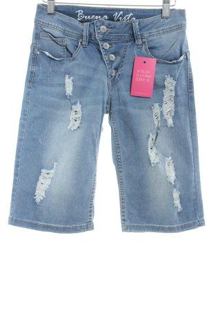 Buena Vista Jeans a 3/4 blu fiordaliso stile povero