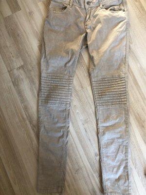 Buena Vista pantalón de cintura baja beige claro-blanco puro