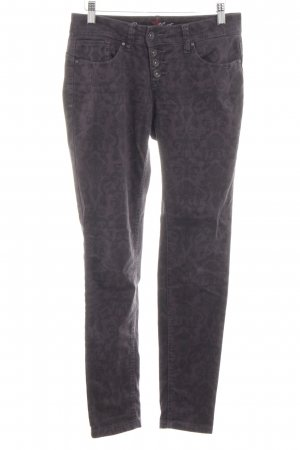 Buena Vista Five-Pocket Trousers black-lilac abstract pattern casual look